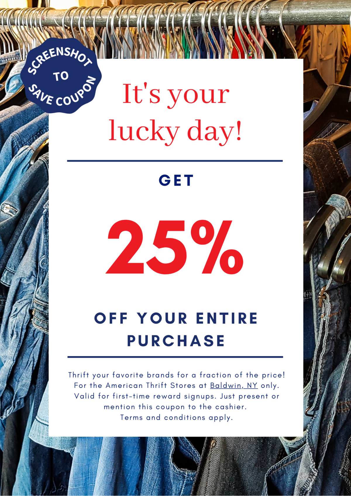 25% Off Coupon American Thrift Stores - Baldwin, NY